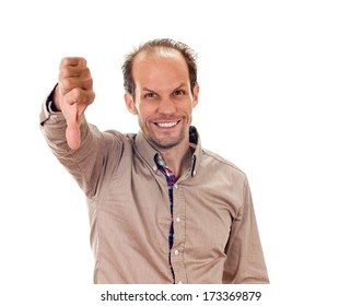 man giving thumbs down gesture. negative sign. Isolated on white