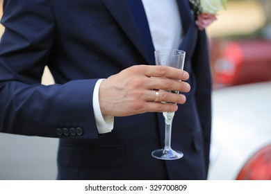 A man with a glass