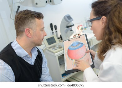 man with glaucoma consulting ophtalmologist for examination