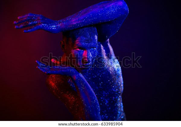Man Glitters Body Art Studio Colored Stock Photo Edit Now 633985904