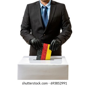 Man with glove throws German flag in voice box, federal elections, isolated