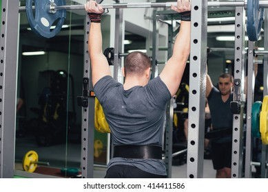 man goes in for sports, fitness in the gym