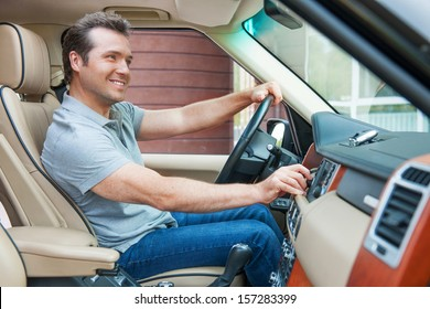 Man is going to drive, looking for some nice music