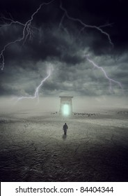a man going to a gate in thunder storm