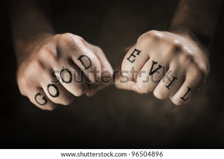 Man Good Evil Fake Tattoos Foto De Stock Editar Ahora 96504896