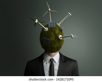 Man with grass and wind energy power plants on his head