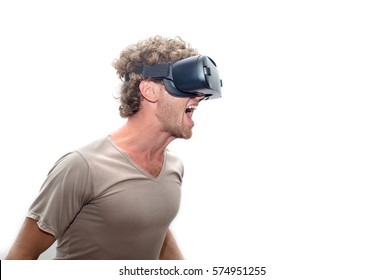 man in gray T-shirt wearing virtual reality 3D headset and exploring the play.isolated on white