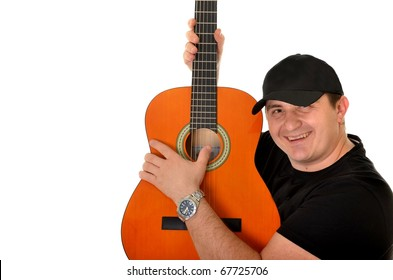 man with guitar isolated