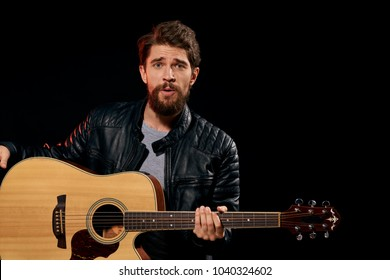 man with guitar, music