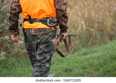 A man with a gun in his hands and an orange vest on a pheasant hunt in a wooded area in cloudy weather. Hunter with dogs in search of game.