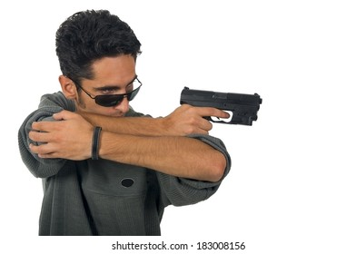 Man with gun. Isolated on white background.
