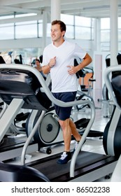 man at the gym doing exercise on the treadmill