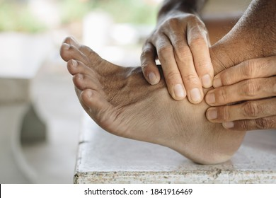 Man had a sore ankle,Healthcare Concept