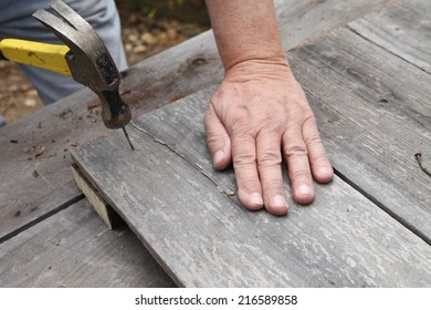 Man hammers old nail into weathered fence boards.