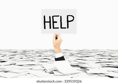 Man hand asks for help among heap of paper, bureaucracy concept