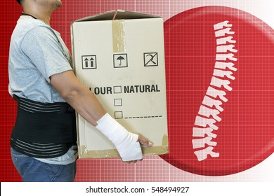Man hand bandage, lift heavy carton wearing support belt for protect his back