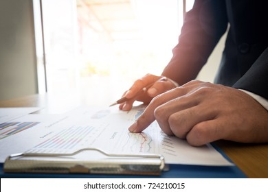 Man hand with business report