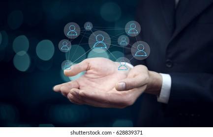 man  hand of businessman pressing virtual button