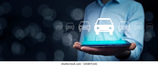 man hand car model with tablet in screen