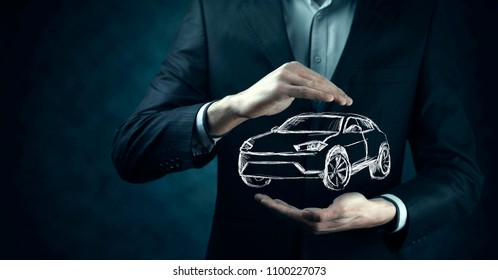 man hand car in screen