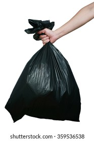 Man hand carry garbage in plastic bag for eliminate isolated on the white background.