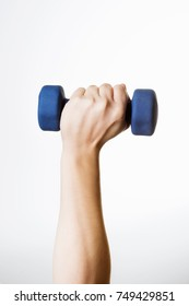Man hand with dumbbell isolated on white