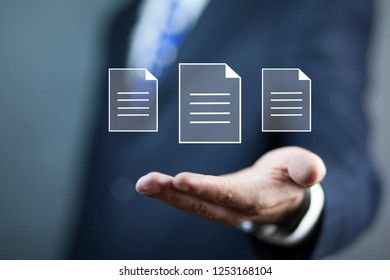 man hand file in screen
