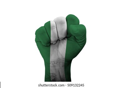 Man hand fist of NIGERIA flag painted