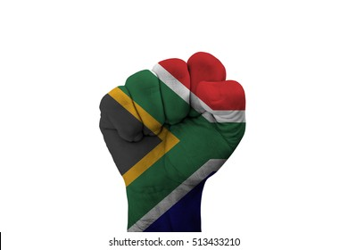 Man hand fist of SOUTH AFRICA flag painted