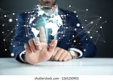 man hand globe network in screen