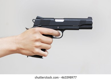 Man hand with glock pistol handgun weapon