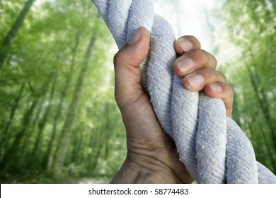 man hand grab grip strong climbing to green forest tree big rope [Photo Illustration]