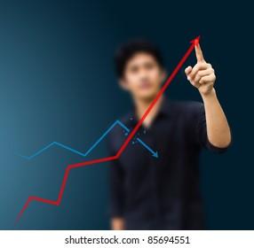 a man hand graph