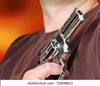 man with hand gun pistol rubber attack violence