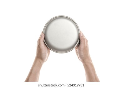 A man hand hold a blank CD and case isolated white.