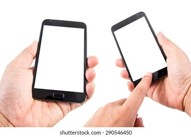 Man hand hold blank touch screen smart phone isolated on white background.