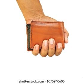 Man hand hold brown wallet on white background.