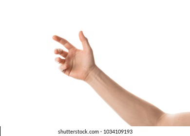 Man hand hold, grab or catch some object, hand gesture. Isolated on white background.