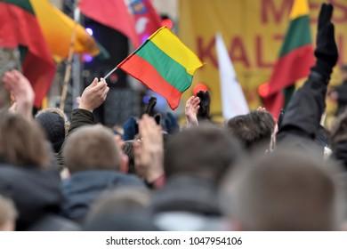 Man Hand Hold Lithuanian Flag, Vilnius.