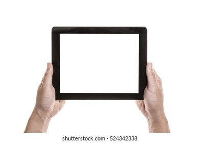 A man hand hold a mobile smart phone with black screen isolated white.