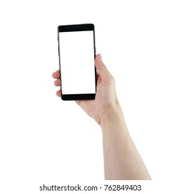 man hand hold smartphone with blank screen isolated on white