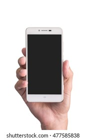 man hand hold smartphone on white background