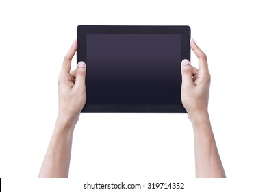 Man hand hold tablet blank screen on isolated background concept using for mockup person showing reality black pad up business, person computer technology, female web shopping online, b2c consumer.