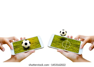 man hand hold and touch screen smartphone or cellphone isolated on white with football field on screen ,abstract background to sport football or soccer online gambling.
