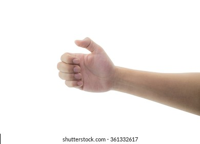 man hand hold virtual gesture, sign, symbol something on white background, clipping part