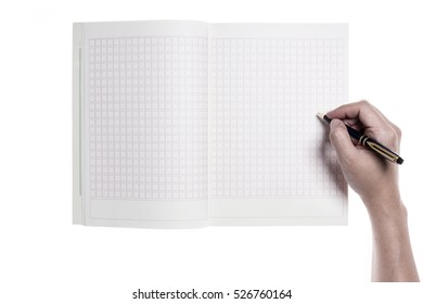 A man hand hold and write on a empty(blank) note spread isolated white.