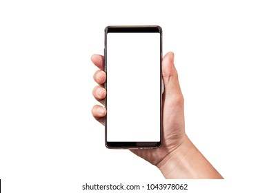 man hand holding black smartphone isolated on white backgrounds