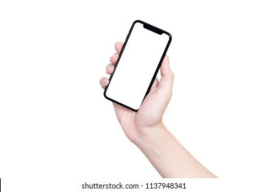 Man hand holding the black smartphone with blank screen and modern frame less design - isolated on white background,high detailed Realistic