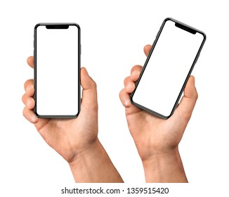 Man hand holding the black smartphone set with blank screen and modern frame less design - isolated on white background