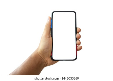 Man hand are holding the black smartphone with blank screen  isolated on white background with clipping path.